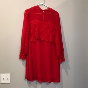 Red lace shift dress size Medium EUC